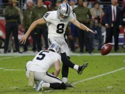 Raiders kicker Carlson AP