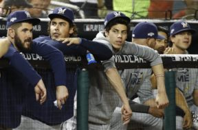Christian Yelich dugout watching AP