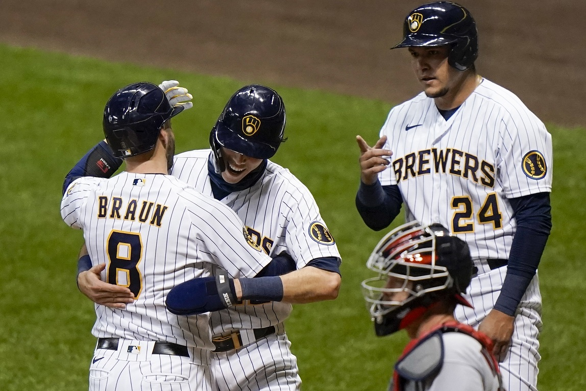 Braun 350th career HR, later plunked; Brews, Cards split another doubleheader