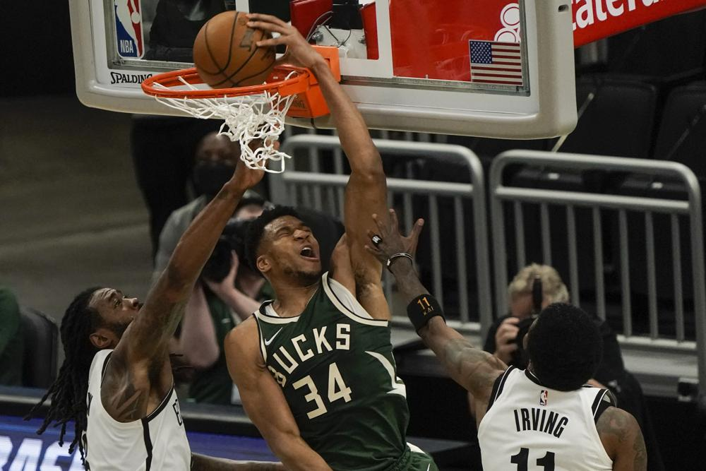 Durant scores 42, but Antetokounmpo goes for 49, as Bucks beat Nets