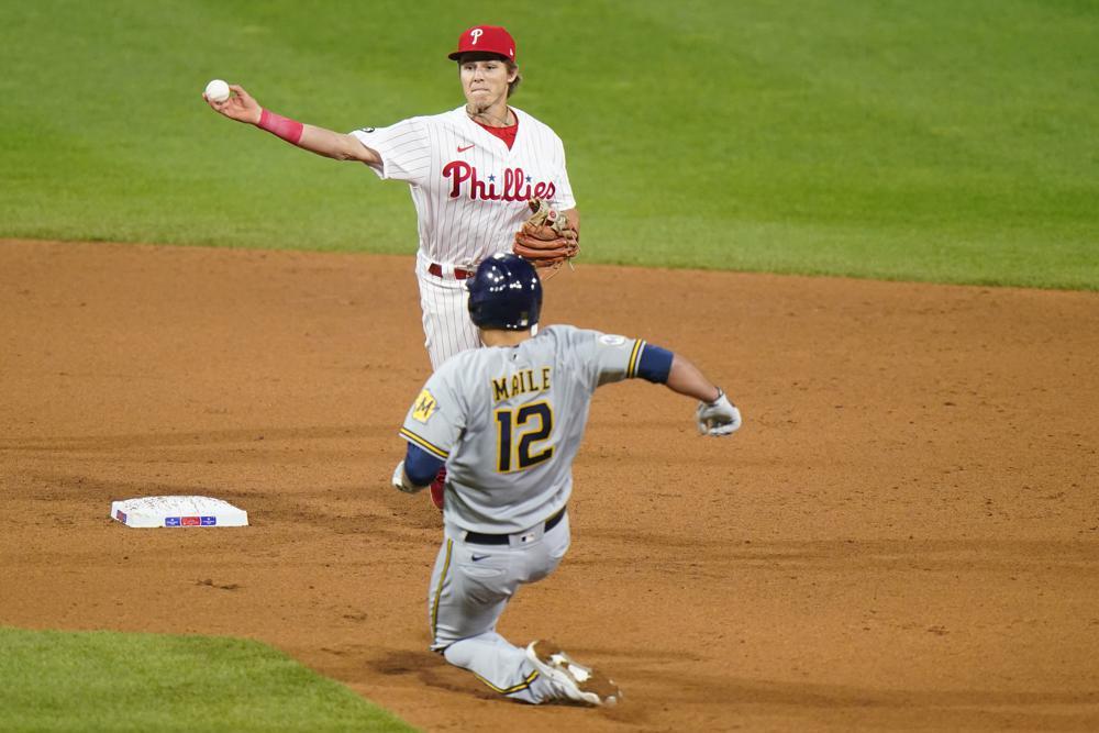 Gregorius' slam holds up in Phillies' 5-4 win over Brewers